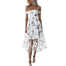 Для женщин летнее платье 2018 Новая Мода с плеча Платье с цветочным узором элегантные дамы платье без бретелек elbise # VE