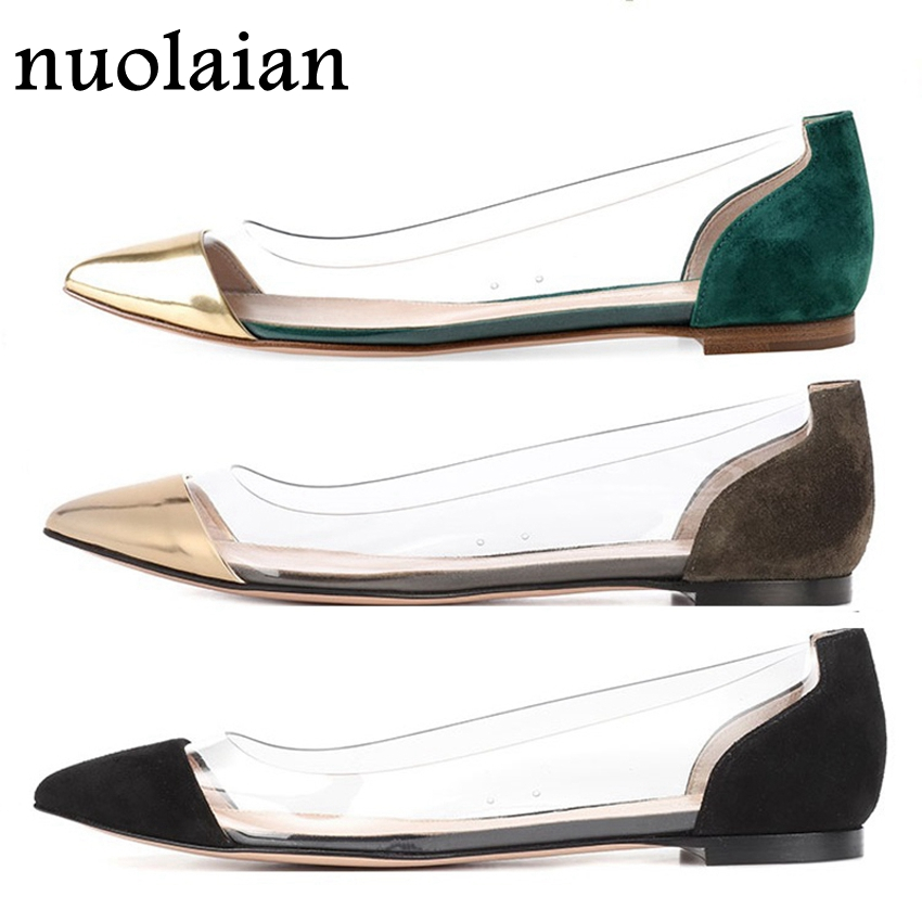 Womens PVC Clear Flat Shoes Comfortable