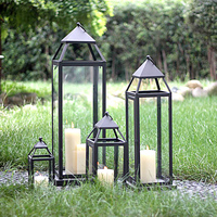 Soft time European outdoor decoration glass candlestick iron lantern wedding gift Hotel Decor floor