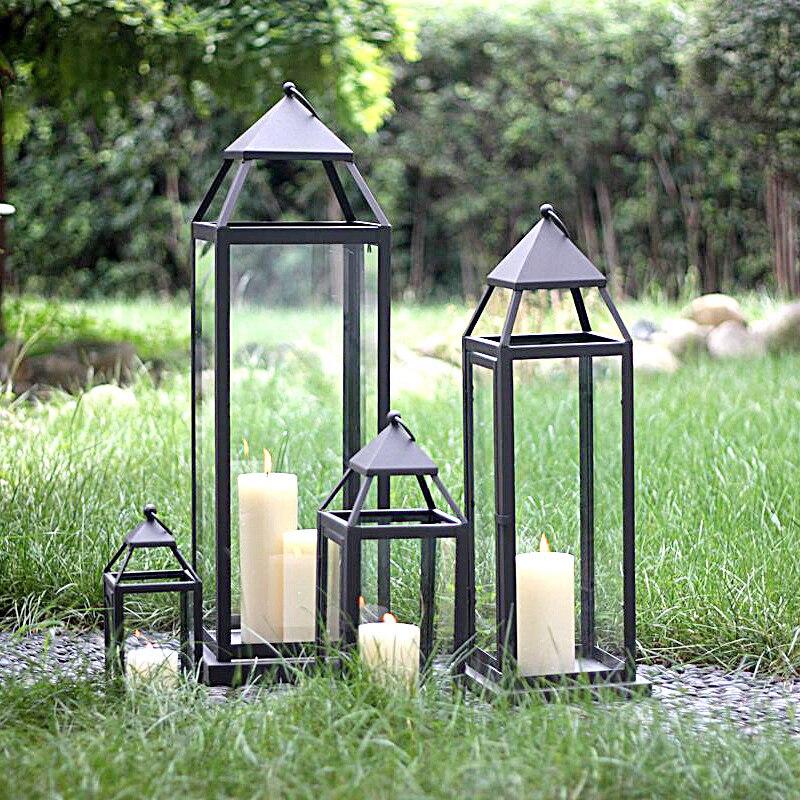 Temps doux décoration extérieure européenne chandelier en verre lanterne de fer cadeau de mariage hôtel décor plancher