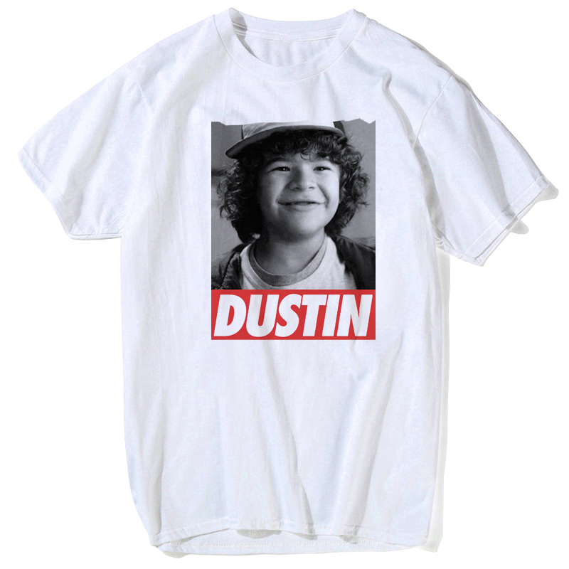 20189 fashion stranger things t shirt dustin eleven stranger-things men t-shirt funny tee shirts hawkins male summer white tops