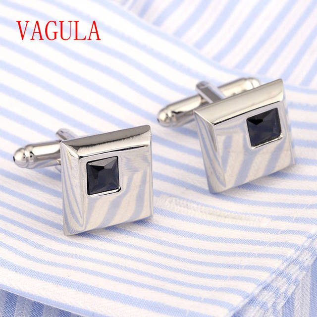 Blue Rhinestone Cufflinks Holiday Cuff Link Cz Stone Cufflings Silver Plated Button Gemelos 227