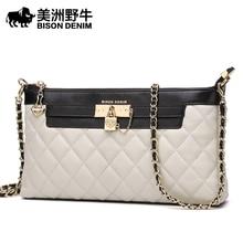BISON DENIM Brand New Handbag Women Shoulder Bag Genuine Leather Clutch Bag Sheepskin Messenger Bag Fashion Wallet Ladies Purse