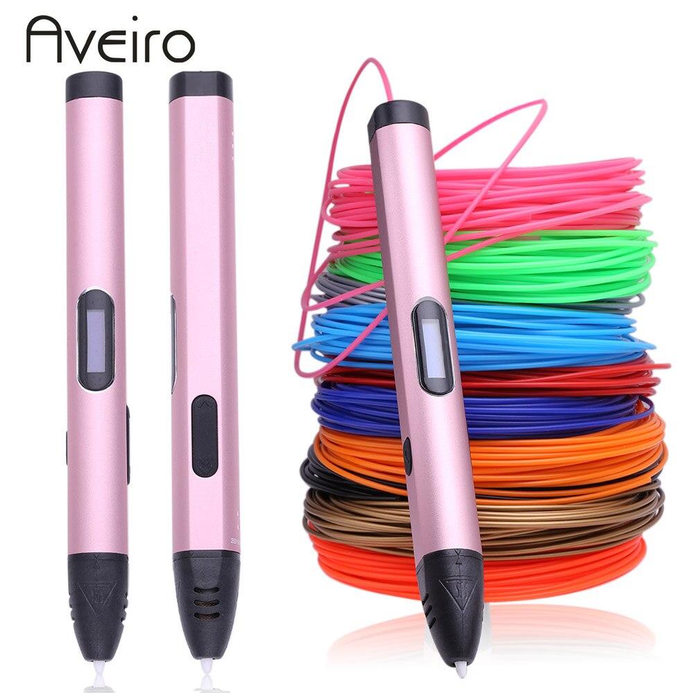 Nouveau 3d stylo avec 100 mètre 10 couleurs pla filament et L'UE adaptateur 3 d impression stylo Intelligent Enfant d'anniversaire cadeaux graffiti pen-3d modèle
