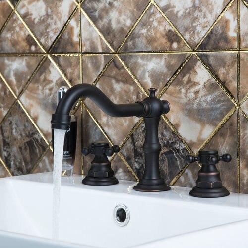 Bathtub Torneira Swivel Spout Oil Rubbed Black Bronze 3 Pieces Double Handles 97116 Bathroom Basin Sink Brass Faucet,Mixer Tap стоимость