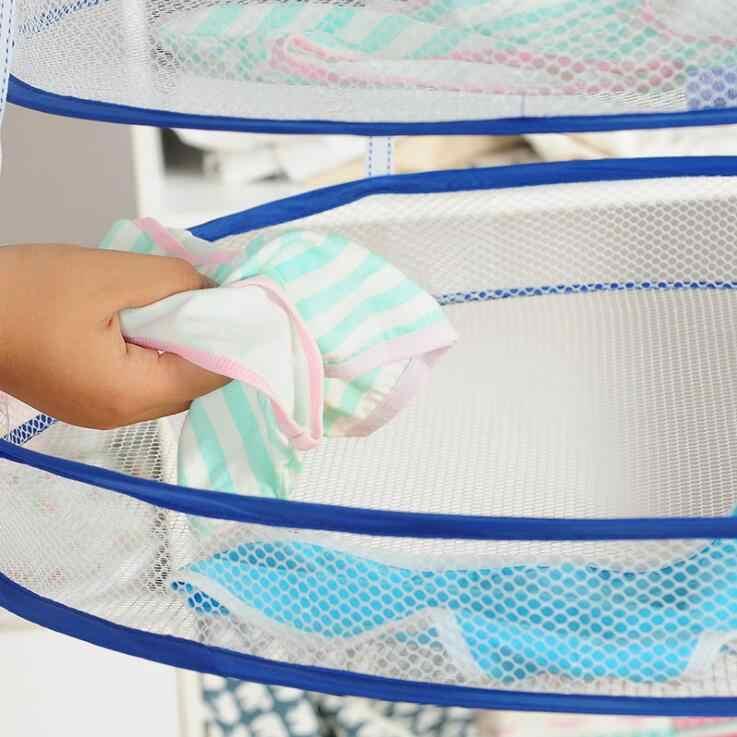 Корзина для белья, нижнее белье, носки, вешалка для хранения, складная Сетчатая Сумка, вешалка, один двойной слой, корзина для белья, QJ-36