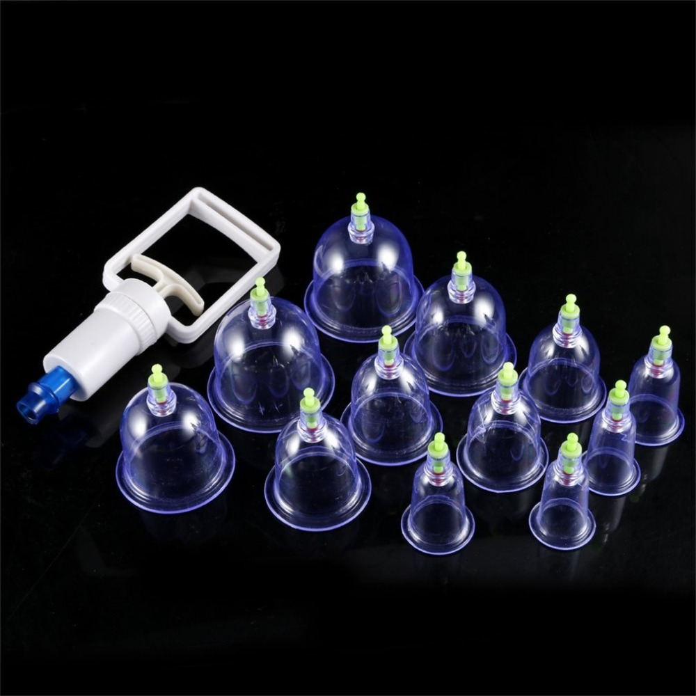 Healthy 12 Cups Medical Vacuum Cans Cupping Cup Cellulite Suction Cup Therapy Body Massage Back Massage Anti-cellulite Massager