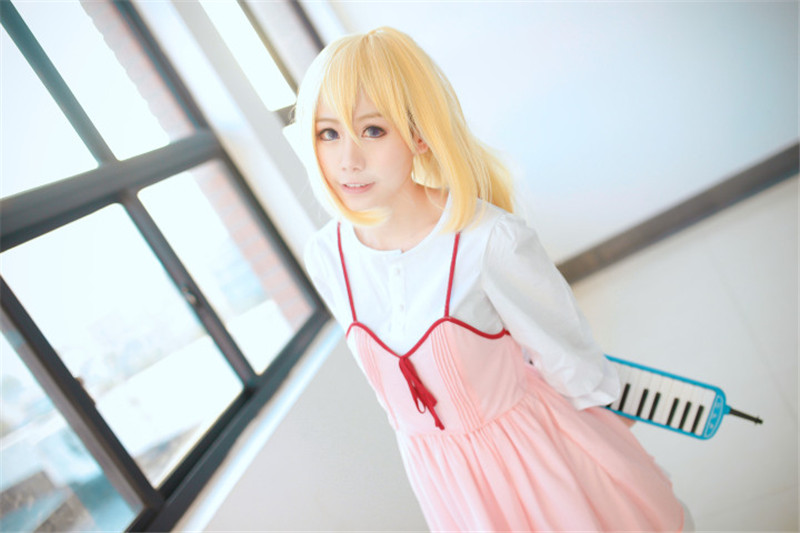 1pcs Anime Your Lie in April Cosplay Shigatsu wa Kimi no Uso Kaori Miyazono First episode Adult Pink Dress Girls Cosplay Costume