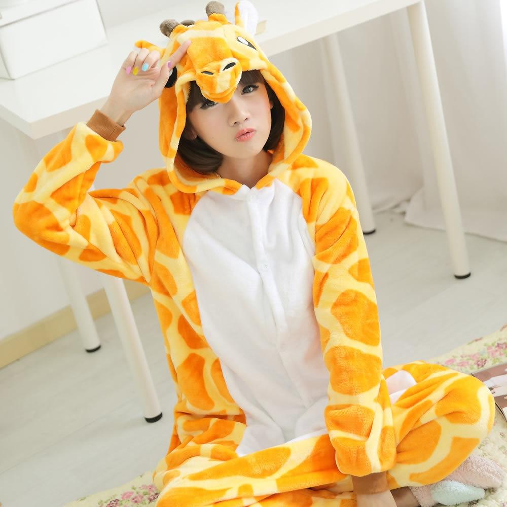 Adult Flannel Giraffe Pajamas Onesies Cosplay Costume Cartoon Animal Children Sleepwears Design For Toilet