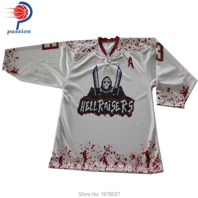 91888fd1287 Black and White Blood Red Lace Up Ice Hockey Jerseys with Sublimated logos