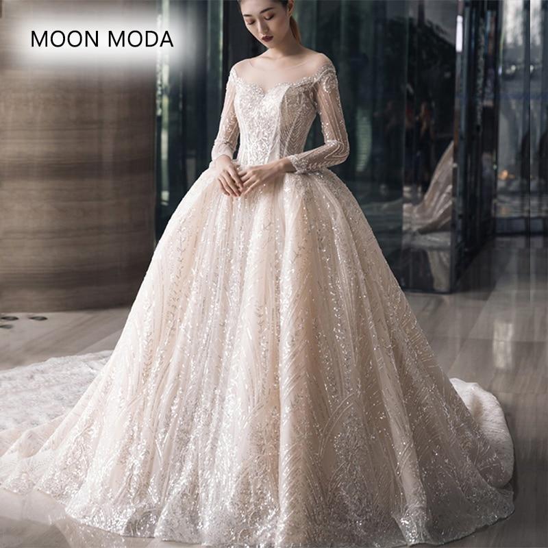 Luxury Lace White Wedding Dress With Bling 2019 Bride Vintage Plus Size Long Sleeve Bridal Gown Weddingdress Vestido De Noiva