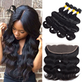 Brazilian Virgin Hair With Closure Ali Pearl Brazilian Hair Body Wave With Closure Ear To Ear Lace Frontal Closure With Bundles