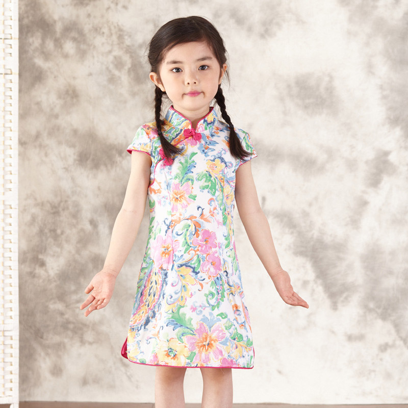 ПРИВЕТ БЛУМ детский день Подарок Бесплатная Доставка Китайском Стиле Костюм детские Малыш Ребенок Девушки Cheongsam Платье Qipao 2-8Y Горячая