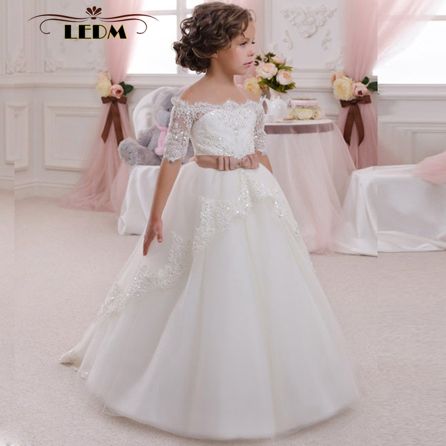 White Kids Evening Lace Half Sleeves With Belt Ball Gown Flower Girl ...