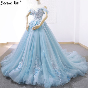 Image 3 - Blue Off Shoulder Handmade Flowers Wedding Dresses 2020 Sexy Sleeveless Crystal High end Bridal Gowns Real Photo 66706