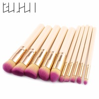 GUJHUI 10pcs High Quality Synthetic Hair Foundation Makeup Powder Blush Brushes Tools Purple Blue Brand Beauty