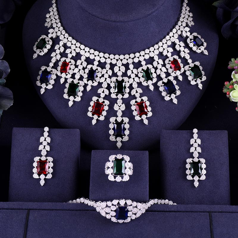 Multicolor 4PCS Luxury Shape Bridal Cubic Zirconia Necklace Earrings Sets Big Wedding Jewelry Sets For Brides