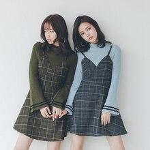 Для женщин зимние платья 2017 Корейский Японский Стиль Винтаж плед лоскутное поддельные из двух частей Flare рукавом вязаный шерсть платье Синий 1325