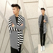 Hot selling fashion striped long mens cardigans spring autumn knitted cotton cardigan shirts homme men casual
