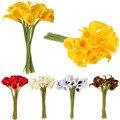 20 Pçs/lote Flores Artificiais 5 Cores Calla Lily Nupcial Do Casamento Decoração Bouquet Cabeças Latex Real Toque de Flor Artificial