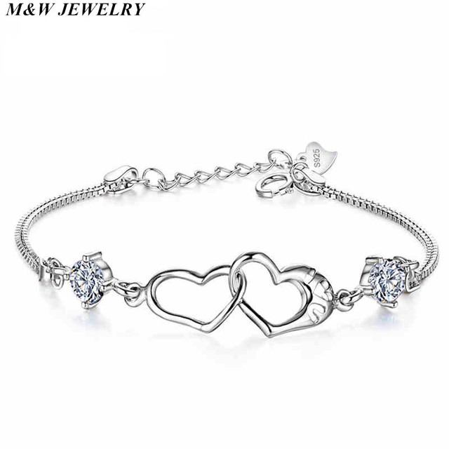 M W Jewelry Charming 925 Sterling Silver Double Love Heart Soulmate Crystal Bracelets Bangles For
