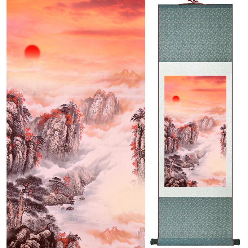 Mountain and river painting Home Office Decoration Chinese scroll painting mountain and River painting LTW2017112604