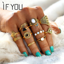IF YOU 10PCS/Set Vintage Bohemian Midi Ring Sets Turkish Mujer Natural Opal Stone Black Crystal Knuckle Rings Jewelry For Women