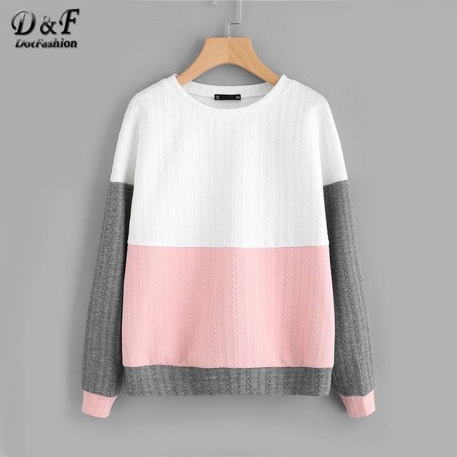 Dotfashion Cut And Sew Textured Sweatshirt Women Long Sleeve Sweatshirt Pullover 2017 Autumn Multicolor Round Neck Sweatshirt