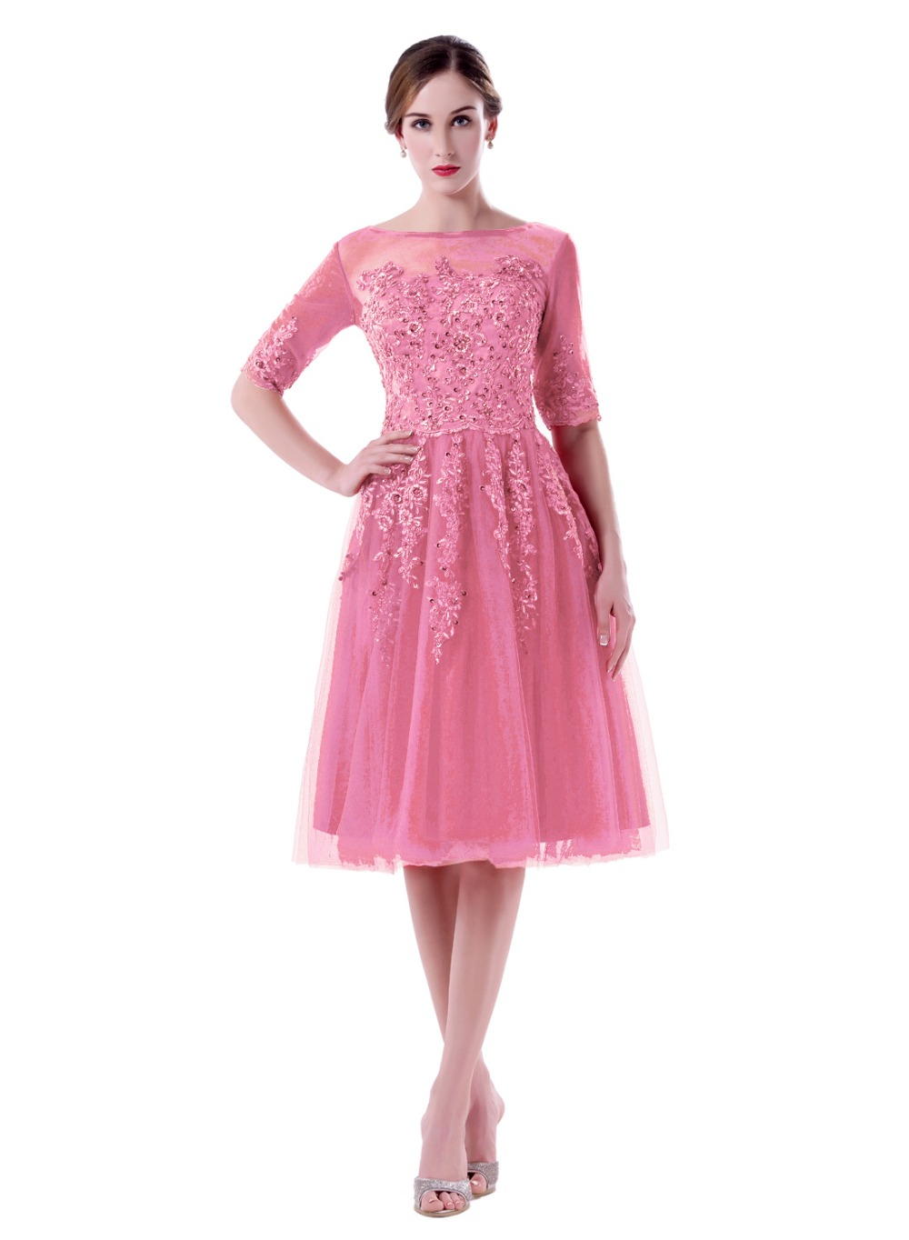Bateau Neck Half Sleeves Short Knee Length Maid of Honor Dresses ...