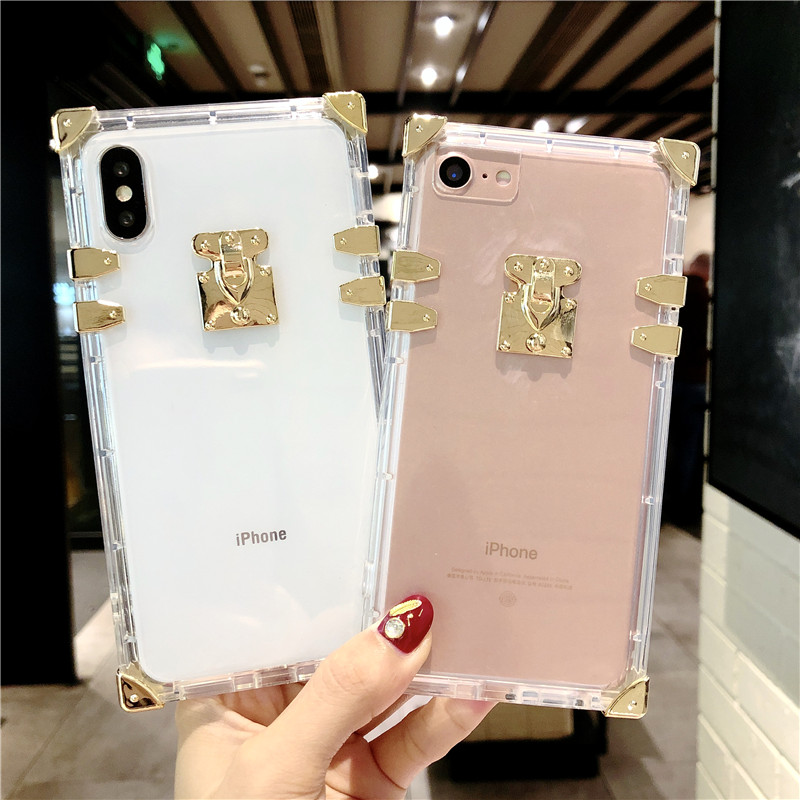 Bling Glitter Clear TPU Iphone 7 8 6 6S Plus Metal Cover For Iphone X XR XS Max Protector Back