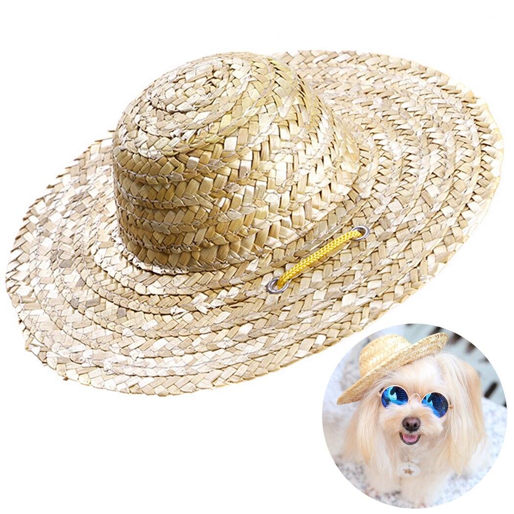 Fashion Handmade Pet Hat Dog Straw Hat Adjustable Strap Cat Beach Cap Puppy Kitten Sun Hat Woven Sombrero Cute Pet Accessories