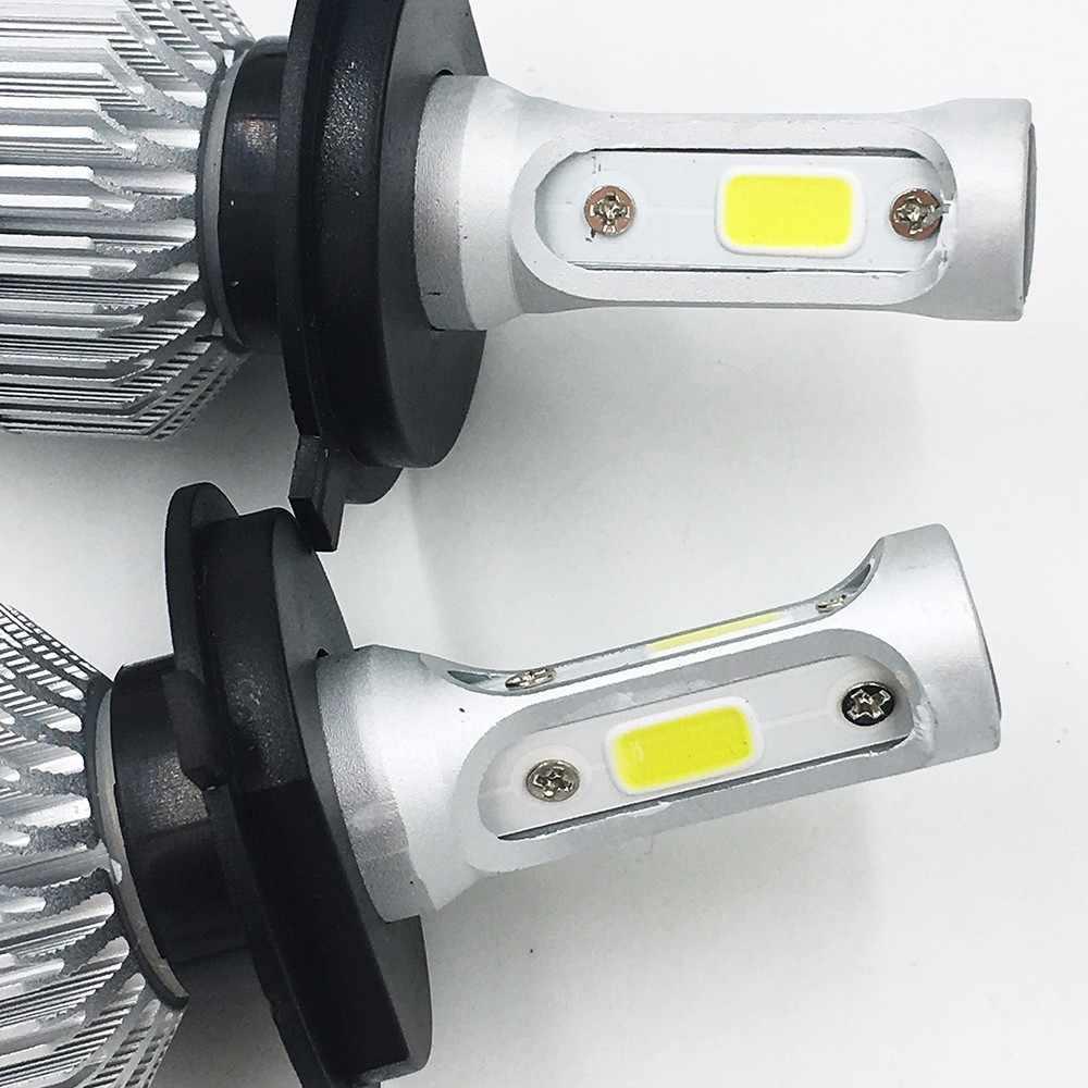 2X S2 H4 COB LED  Car Hi-Lo Headlight Bulb Beam 72W 8000LM 6500K WHITE LIGHT Auto Headlamp 12v 24v