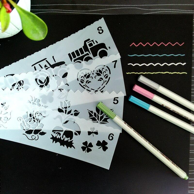 Discreet 8pcs/set Airbrush Stencils&templates Tattoo Stencil For Kids,diy Glitter Painting Stencil Children Embossing Paper Card Template Tattoo Stencils