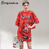 2017 Sonbahar Moda Yarım Kollu Üstleri Ceket + Kolsuz Mini elbise Iki Parçalı Set Kırmızı Çiçek Baskı Gizli Göğüslü Kadınlar setleri