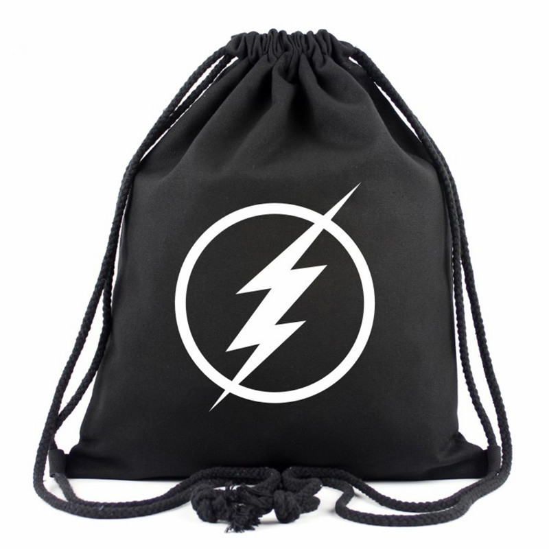 2017 Hot Sale The Flash Star Drawstring Bag Captain America Canvas Travel Bag Casual Backpack School Bag Mochila Escolar Gifts
