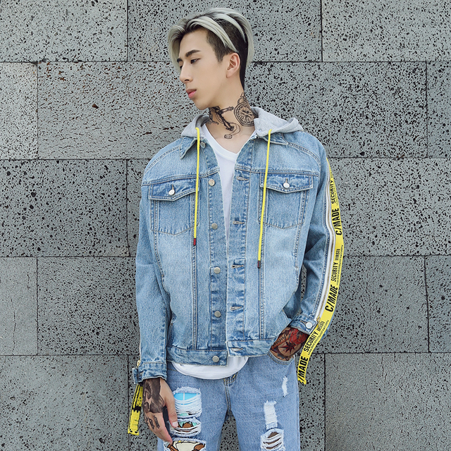 2018 Men s Denim Jacket New Fashion Blue Jeans Jackets Slim fit Casual  Streetwear Vintage Mens Jean Clothing With Ribbon Zipper 42ac62e31