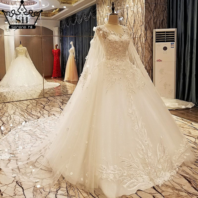 High end White Low Back Wedding Dresses with Shawl Beaded Sequins ...