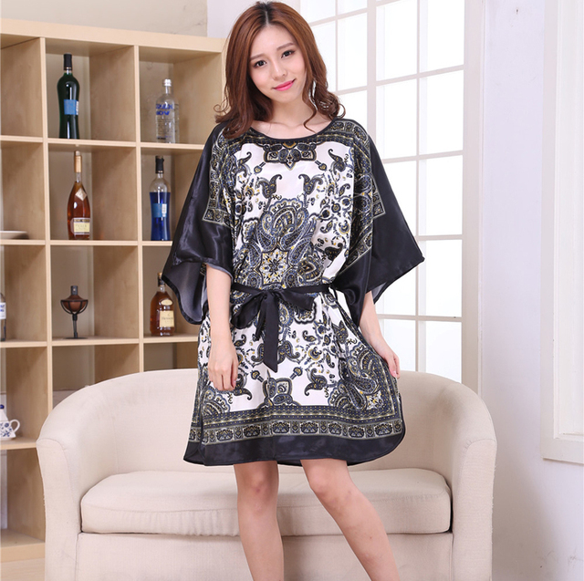 b9c7dfc00b7 Women Faux Silk Satin Nightgown Half Sleeve Sleepshirt Print Robe Large  Size Nightwear Summer Sleep Wear