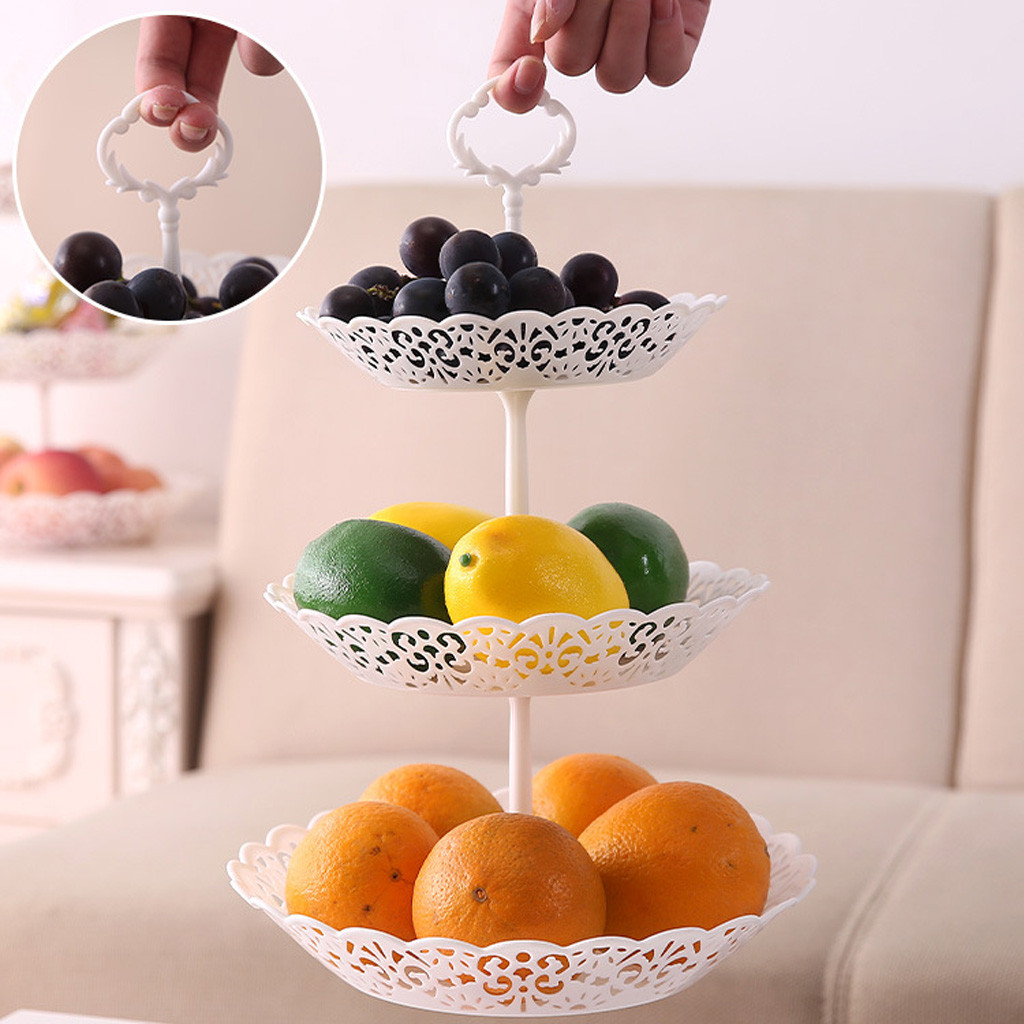 3-Tier Cupcake Stand Cake Dessert Wedding Event Party Display Tower Plate Round Fruit Plate Stand Cupcake Tray Plates Holder