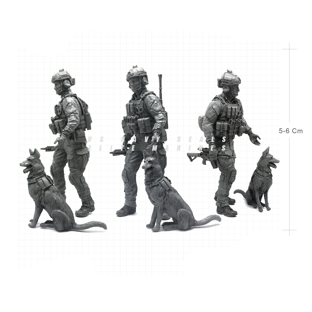 Tobyfancy 1/35 Modern U.S Navy Seals Elite Marines & Dogs Military Soldier Resin Model Figure NAI-15