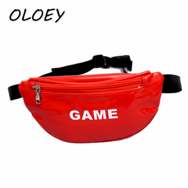 Kids Patent Leather Waist Bags Young Girls Boy Crossbody Fanny Pack Children Chest Shoulder Portable Coin Phone Hip Bum Bag#