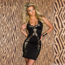 Mini Dress Casual Short Flowers Summer Clothes Neck-Bodycon Gold Fashion Sleeveless