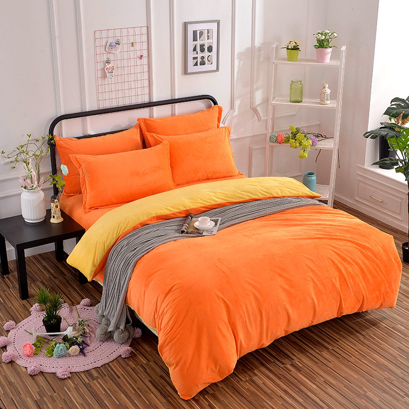 Winter New Arrival Warm Thick Flannel Bedding Set 4 Pcs Soft solid yellow orange bed Sheet Pillowcase Bed Linings Duvet CoverWinter New Arrival Warm Thick Flannel Bedding Set 4 Pcs Soft solid yellow orange bed Sheet Pillowcase Bed Linings Duvet Cover