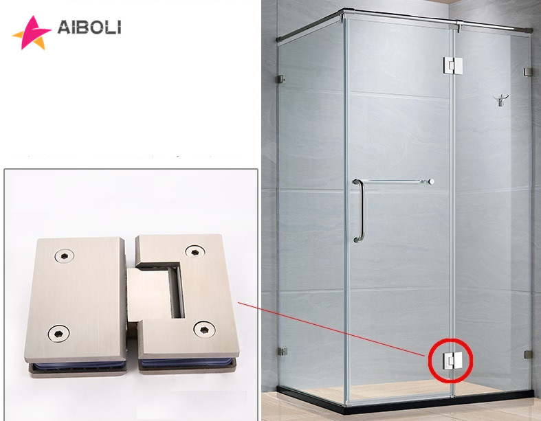 AIBOLI 180 Degree Open 304 Stainless Steel Wall Mount Glass Shower Door Hinge For Home Bathroom Furniture Hardware