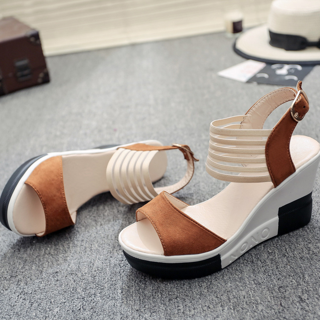 HTB1fwpcaEvrK1RjSspcq6zzSXXar new fashion Wedge women Shoes Casual Belt Buckle High Heel Shoes Fish Mouth Sandals 2019 luxury sandal women buty damskie