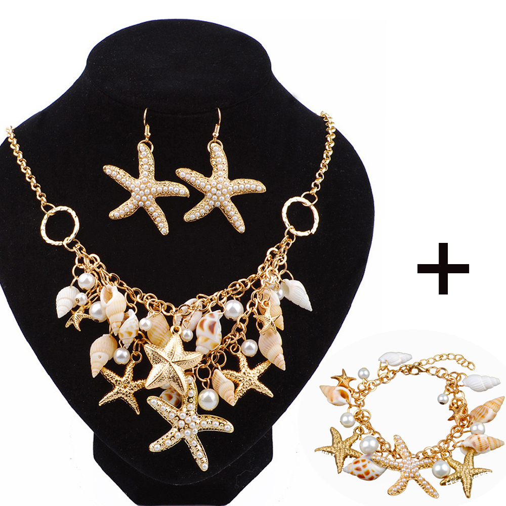 Lot Starfish Sea Snail Earrings Necklace Bracelet Suit Pearl Shell Double Sautoir Charm Conch Seashell Drop Earring Jewelry Sets