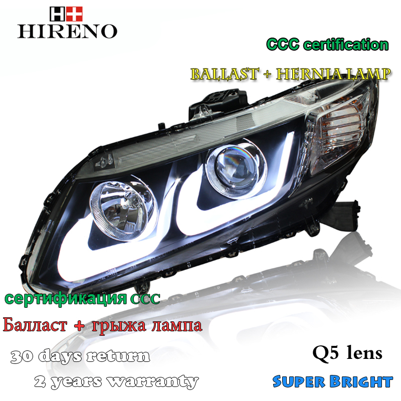Hireno Car styling Headlamp for 2011-15 Honda Civic Headlight Assembly LED DRL Angel Lens Double Beam HID Xenon 2pcs hireno car styling headlamp for 2003 2007 honda accord headlight assembly led drl angel lens double beam hid xenon 2pcs