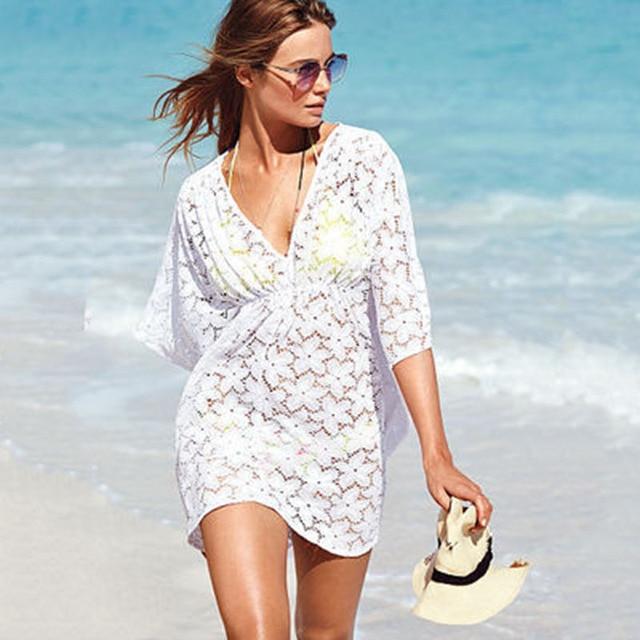 Lace Crochet Women Beach Dress V neck Batwing Sleeve Summer ...