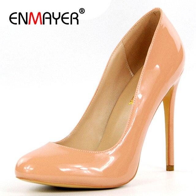 ENMAYER ronda Toe mujer verano Zapatos bombas tacones altos partido zapatos de boda Sapatos Feminino Multi bombas más tamaño 35- 46