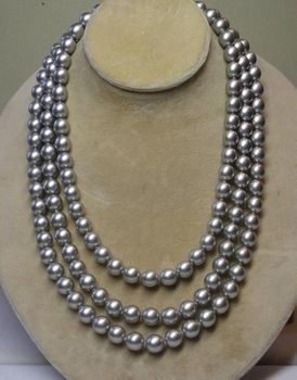 "bjc 000697 50"" 9-10MM SOUTH SEA PERFECT PEACOCK GRAY PEARL NECKLACE"